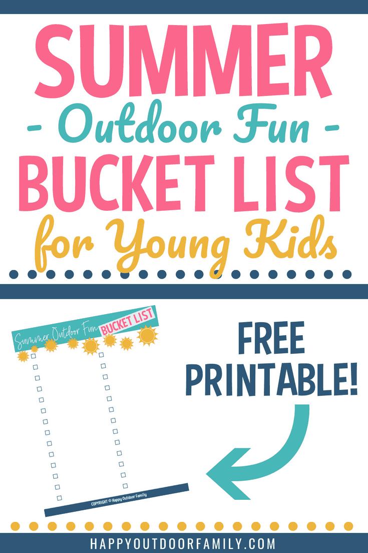 Summer Outdoor Fun Bucket List for Young Kids | Free Printable #summerfun #summerbucketlist #outdoorfun #activitiesforkids #freeprintable
